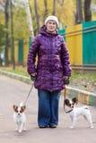 Vrouw met de honden Royalty-vrije Stock Fotografie