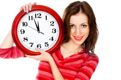 Vrouw met de klok die in wit wordt geïsoleerdo Royalty-vrije Stock Foto