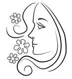 Vrouw met de Lange Bloemen van het Haar vector illustratie