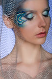 Vrouw met de meermin van de gezichtskunst Royalty-vrije Stock Fotografie