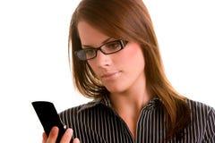 Vrouw met de Telefoon van de Cel Stock Afbeelding