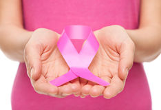 Vrouw met de voorlichtingslint van borstkanker Royalty-vrije Stock Foto