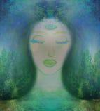 Vrouw met derde oog, psychische bovennatuurlijke betekenissen Royalty-vrije Stock Foto's