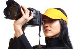 Vrouw met digitale camera royalty-vrije stock afbeeldingen