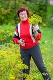 Vrouw met dille Stock Foto's