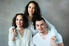 Vrouw met dochter en zoon stock foto