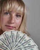 Vrouw met dollars #077 Stock Afbeelding