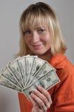 Vrouw met dollars #084 Stock Afbeelding