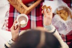 Vrouw met donker haar die een picknick in de sneeuw in de winter hebben stock fotografie
