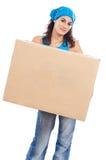 Vrouw met doos Royalty-vrije Stock Afbeeldingen