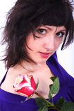 Vrouw met een bloem Stock Afbeelding