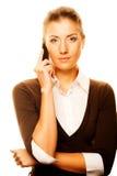 Vrouw met een celtelefoon Royalty-vrije Stock Foto's
