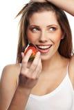 Vrouw met een chocoladewoestijn Royalty-vrije Stock Afbeeldingen