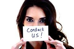 Vrouw met een Contact de V.S. van de Kaart! stock foto's