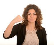 Vrouw met een dichtgeklemde vuist Stock Foto's