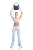 Vrouw met een gewichtsschaal royalty-vrije stock fotografie