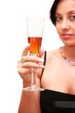 Vrouw met een glas alcoholische drank. royalty-vrije stock foto