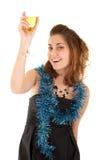 Vrouw met een glas champagne Royalty-vrije Stock Foto