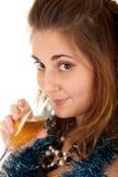 Vrouw met een glas champagne Stock Foto