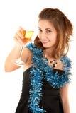 Vrouw met een glas champagne Stock Afbeeldingen