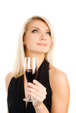 Vrouw met een glas rode wijn Royalty-vrije Stock Afbeelding
