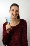 Vrouw met een glas witte wijn Royalty-vrije Stock Afbeeldingen