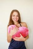 Vrouw met een groot rood Royalty-vrije Stock Foto