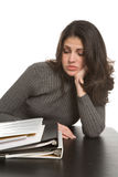 Vrouw met notitieboekjes Stock Foto's