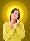 Vrouw met een halo Stock Afbeeldingen