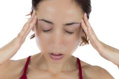 Vrouw met een hoofdpijn Royalty-vrije Stock Foto