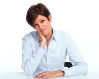 Vrouw met een hoofdpijn Stock Afbeeldingen