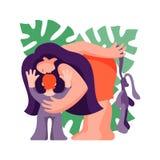 Vrouw met een kind Moeder naar het kind wordt geleund dat Vector illustratie royalty-vrije stock foto's