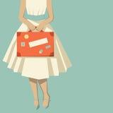 Vrouw met een koffer Stock Afbeelding