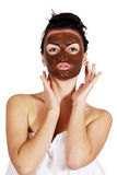 Vrouw met een masker op zijn gezicht royalty-vrije stock afbeelding