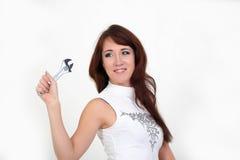 Vrouw met een moersleutel Royalty-vrije Stock Foto's