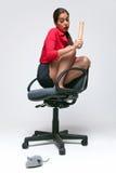Vrouw met een muisfobie. Stock Foto