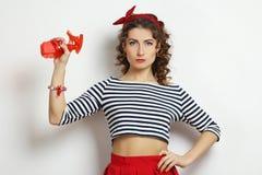 Vrouw met een nevel stock afbeelding