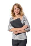 Vrouw met een omslag Stock Afbeelding
