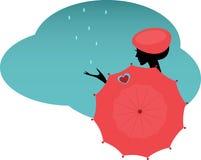 Vrouw met een paraplu stock illustratie