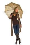 Vrouw met een paraplu stock fotografie