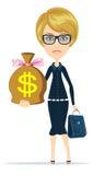 Vrouw met een reusachtig zakhoogtepunt van geld vector illustratie