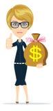Vrouw met een reusachtig zakhoogtepunt van geld stock illustratie