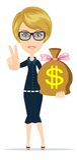 Vrouw met een reusachtig zakhoogtepunt van geld royalty-vrije illustratie