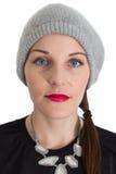 Vrouw met een Rode Lippenstift Royalty-vrije Stock Afbeeldingen