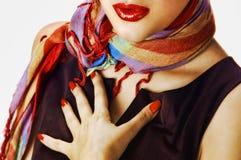 Vrouw met een sjaal Stock Fotografie