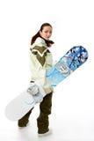 Vrouw met een snowboard Stock Foto's