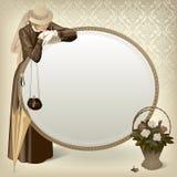 Vrouw met een spiegel Royalty-vrije Stock Foto