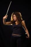 Vrouw met een zwaard royalty-vrije stock foto