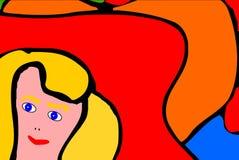Vrouw met Eerlijk Haar in Grappige Stijl royalty-vrije illustratie