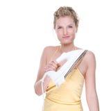 Vrouw met elektrisch ijzer Stock Foto's